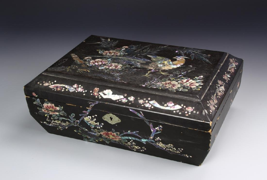 Chinese Box With Inlay Of Mother Of Pearl