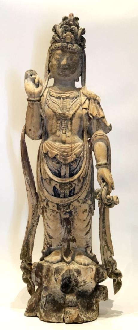 Chinese Wood Guanyin Statue With Base