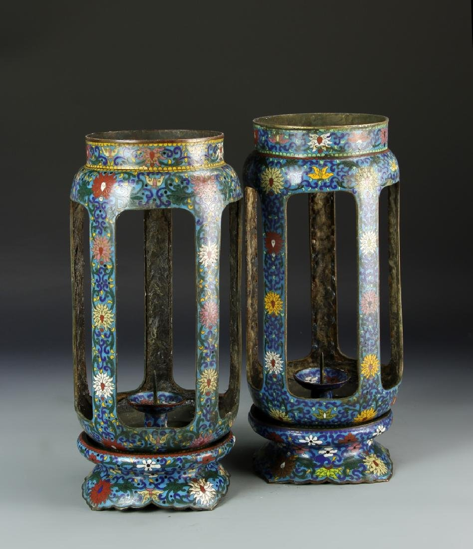 Pair of Chinese Cloisonne Lanterns