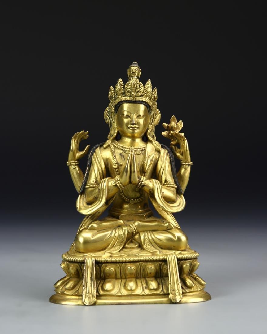 Chinese Tibetan Gilt Buddha