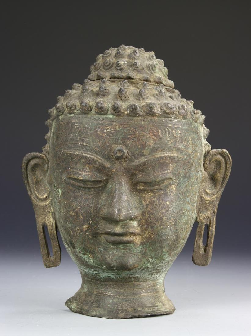 Indian Bronze Buddha Head