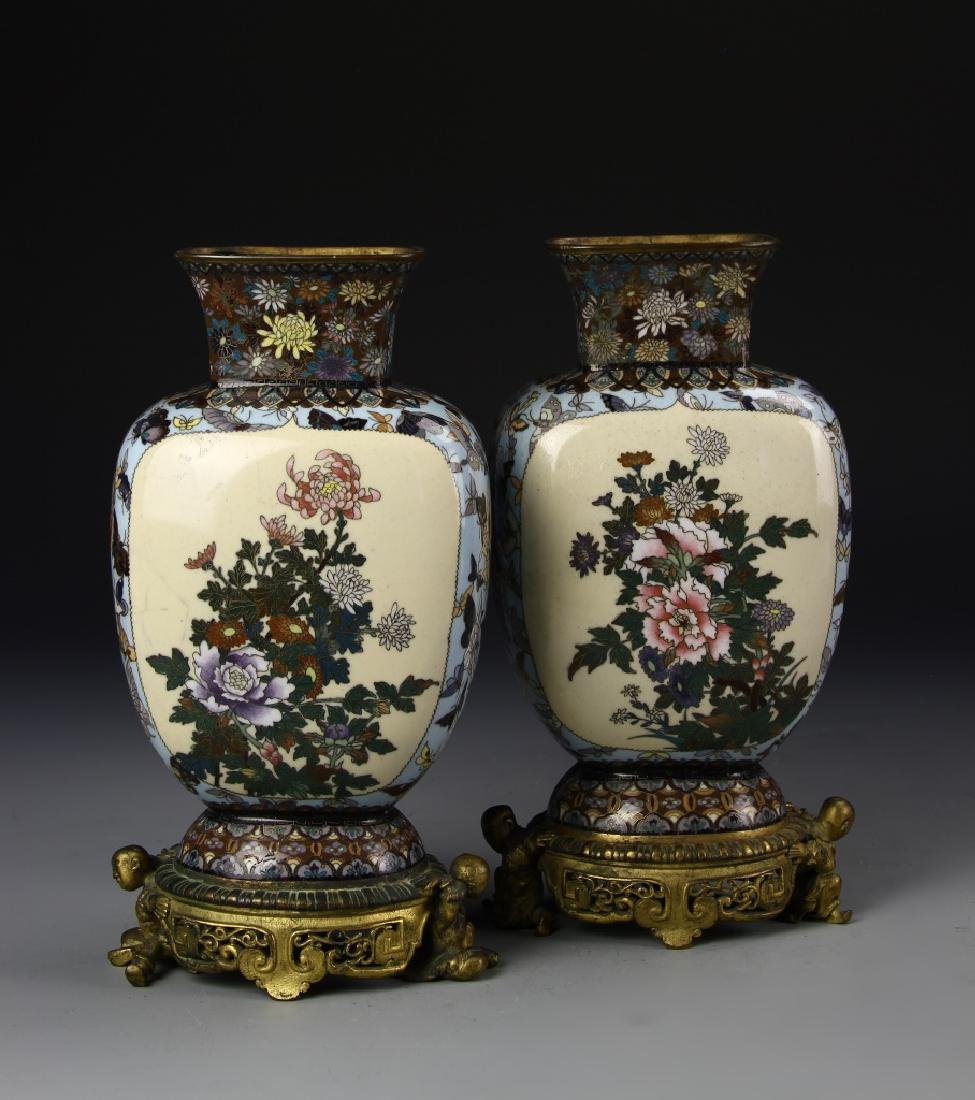 Japanese A Pair Of Cloisonne Vases