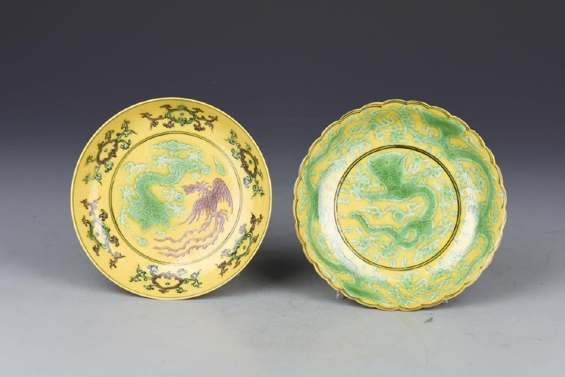 Pair of Chinese Sancai Plates