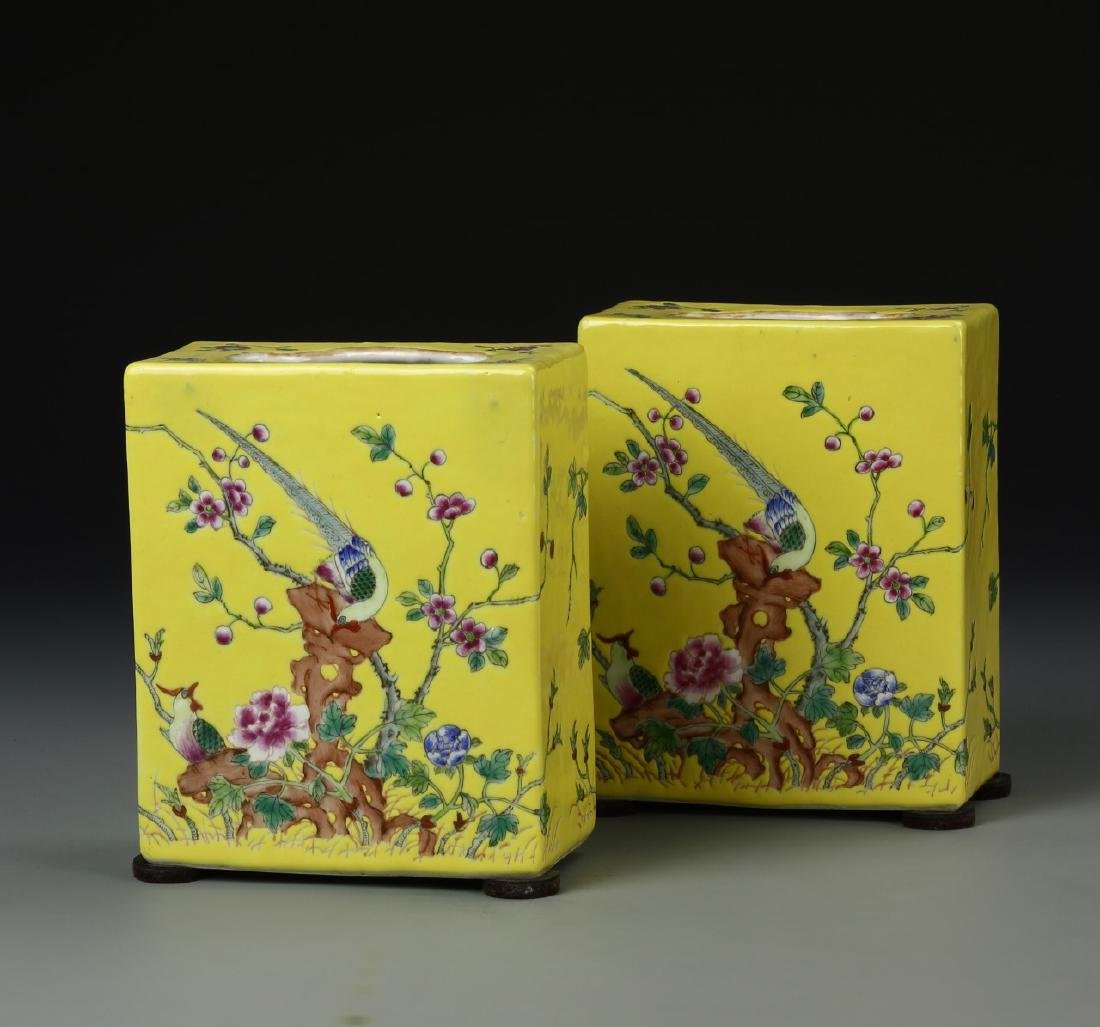 Pair of Chinese Famille Rose Palm Readers