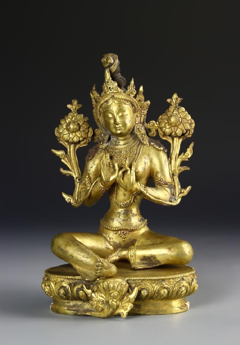 Tibetan Gilt Bronze Buddha