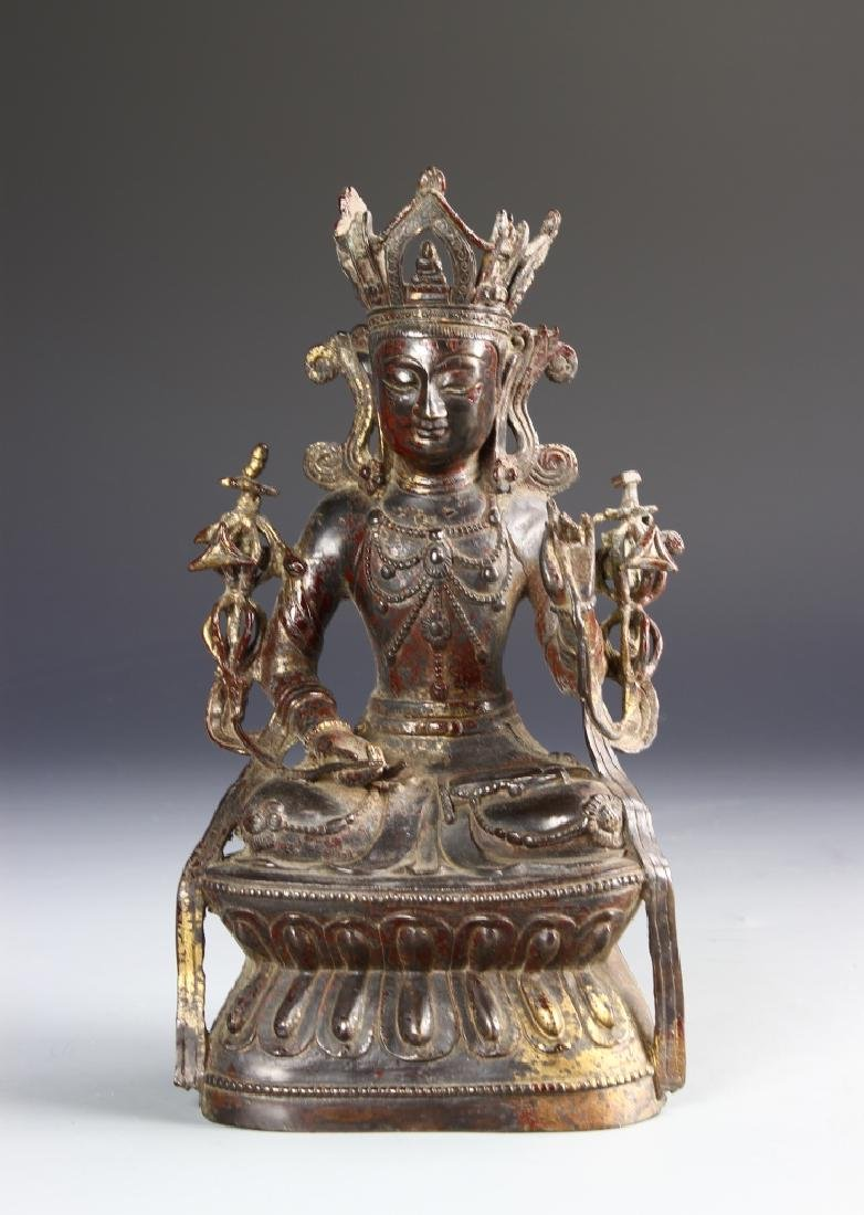 Chinese Gilt Buddha With Gilt Base