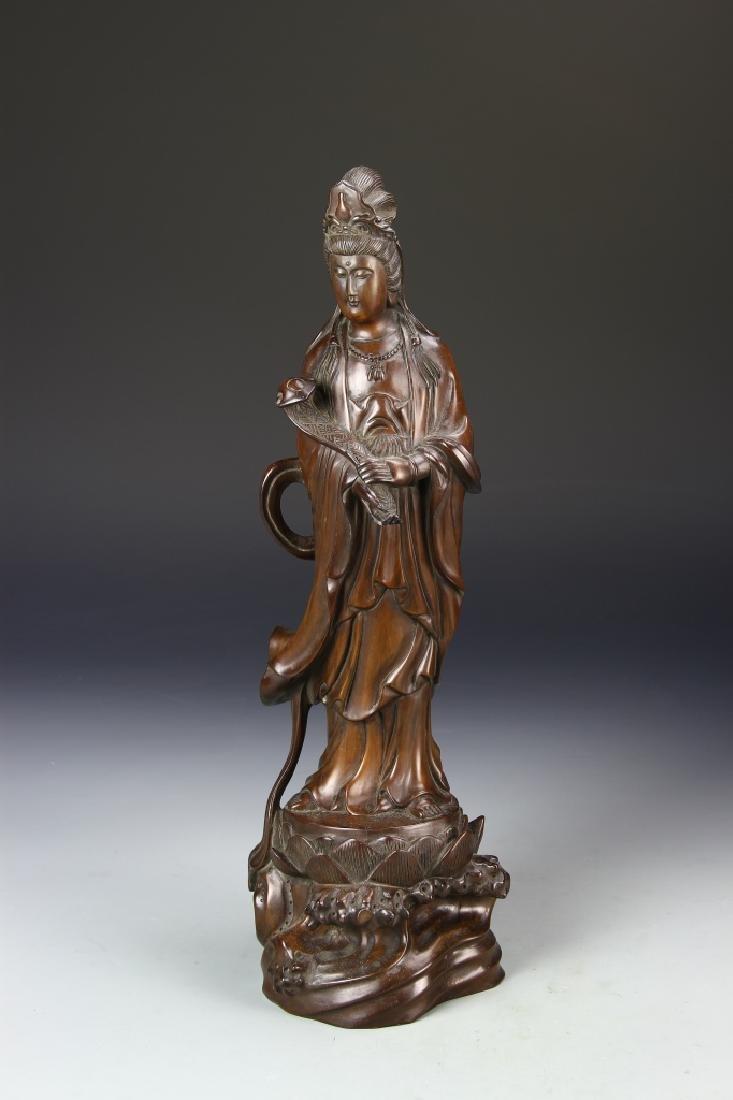 Chinese Wood Guanyin Figure