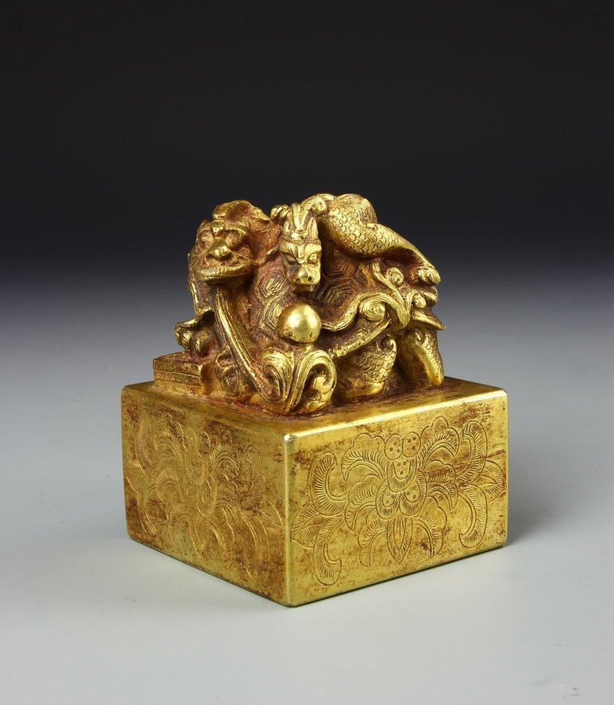 Chinese Gilt Bronze Seal