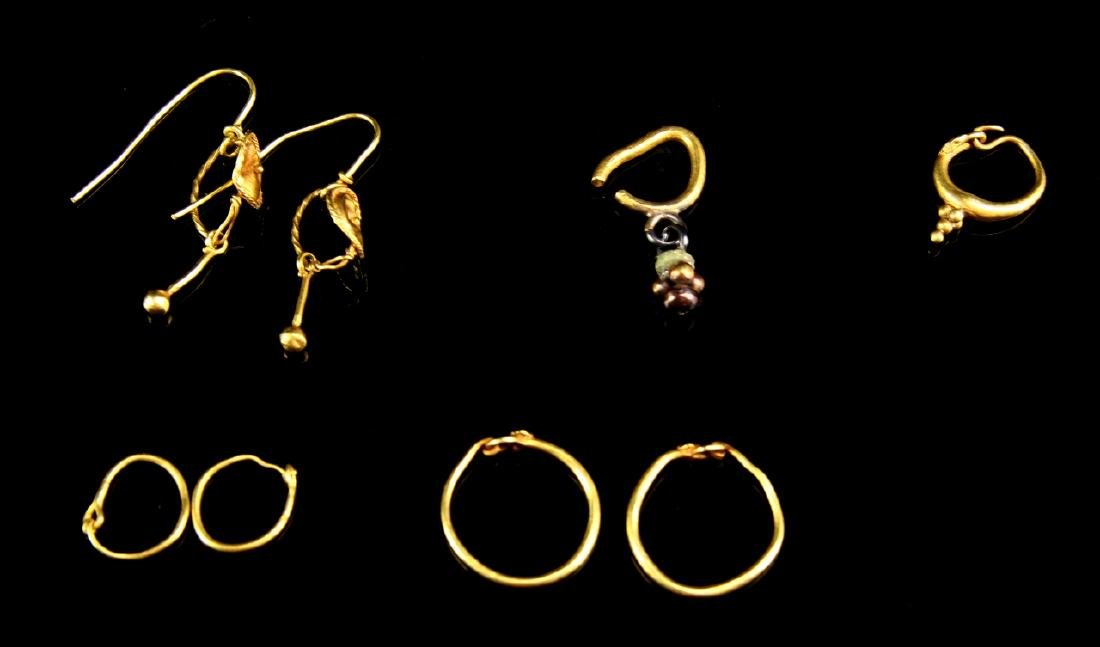 Six Pairs of Ancient Roman Gold Loop Earrings