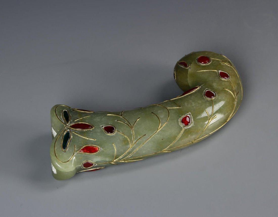 Indian Green Jade Carved Dagger Handle