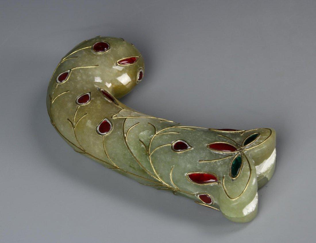 Indian Green Jade Carved Dagger Handle - 2