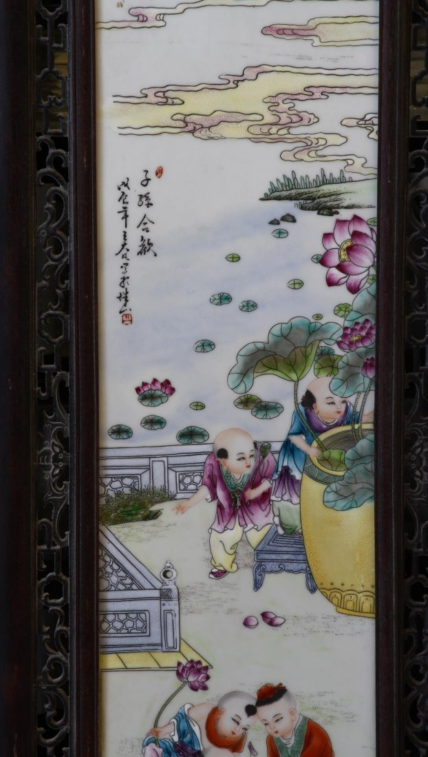 Chinese Framed Famille Rose Plaque - 2