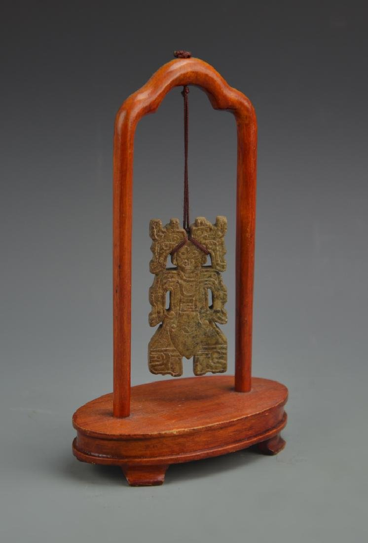 Chinese Antique Jade Figure Hanging on Stand