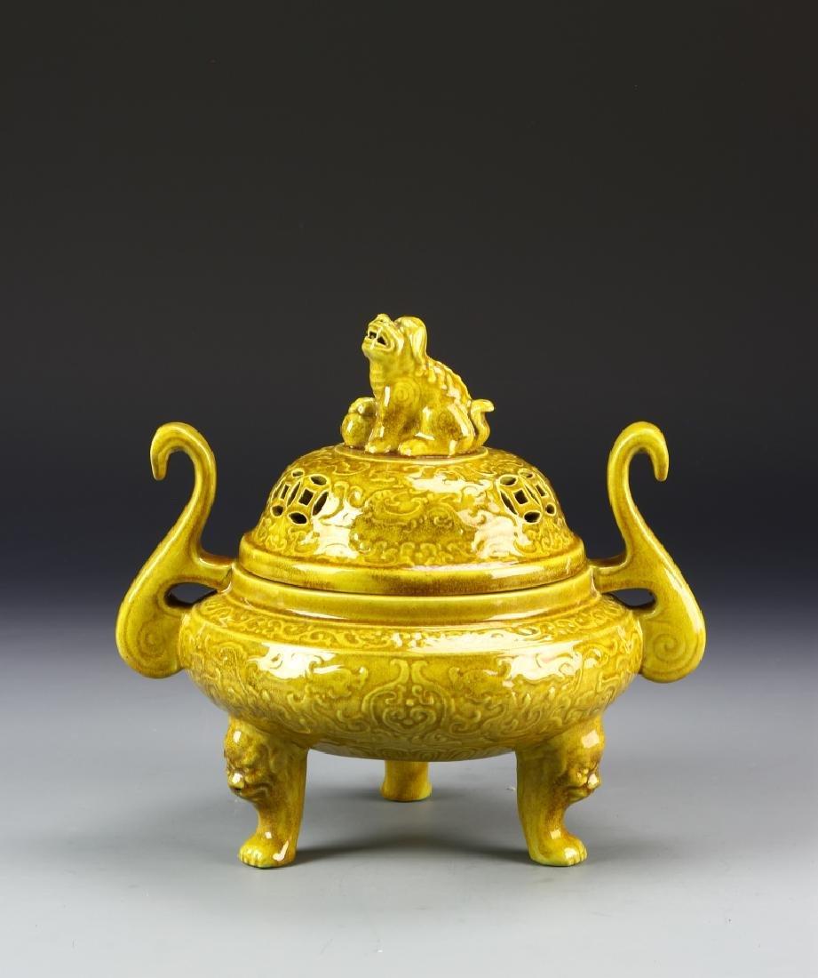 Chinese Yellow Tripod Censer