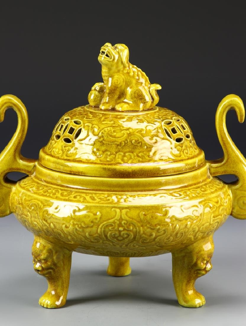 Chinese Yellow Tripod Censer - 2