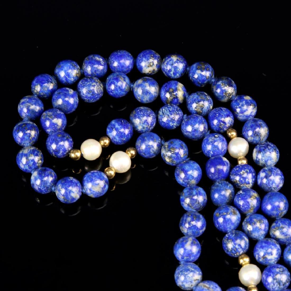 Chinese Lapis Beaded Necklace - 2