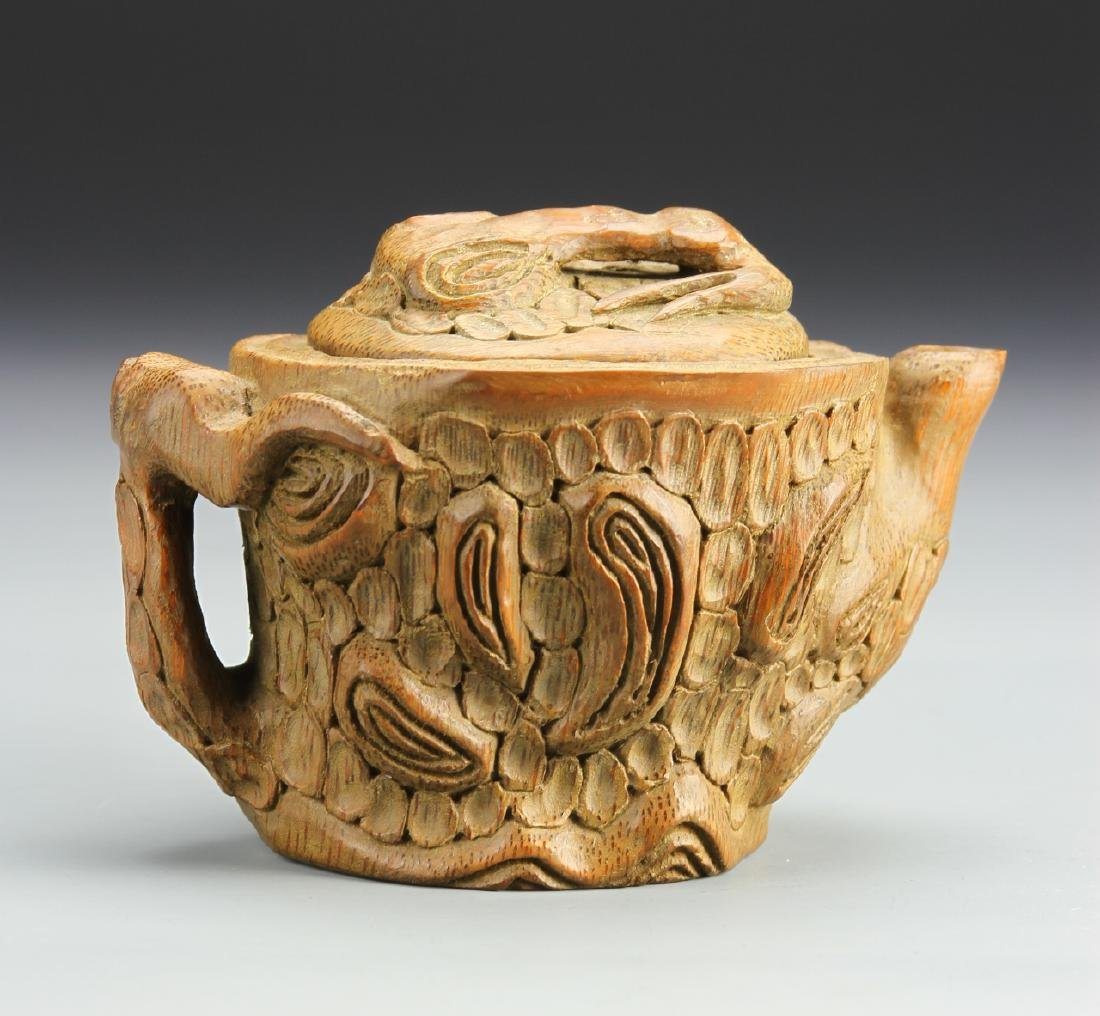 Chinese Carved Bamboo Teapot - 2