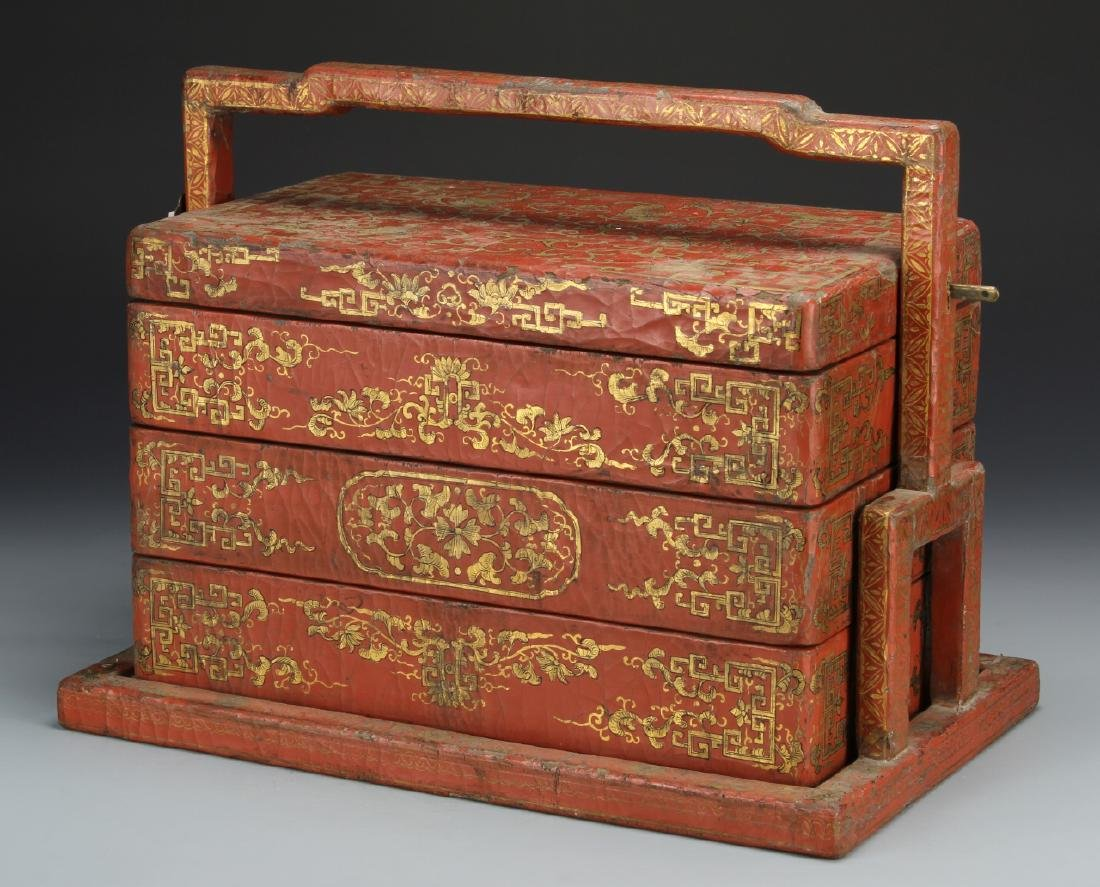Chinese Wooden Red and Gilt Scholar Box
