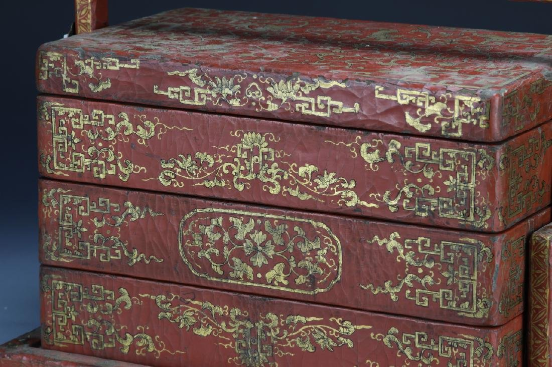 Chinese Wooden Red and Gilt Scholar Box - 2