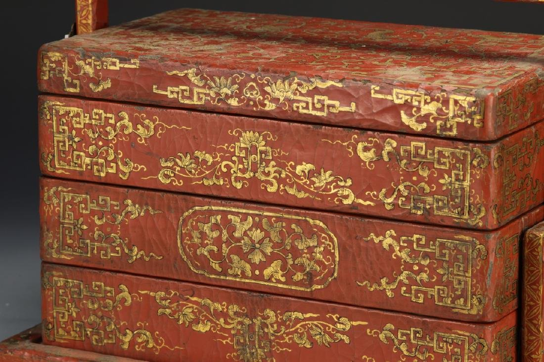 Chinese Wooden Red and Gilt Scholar Box - 3