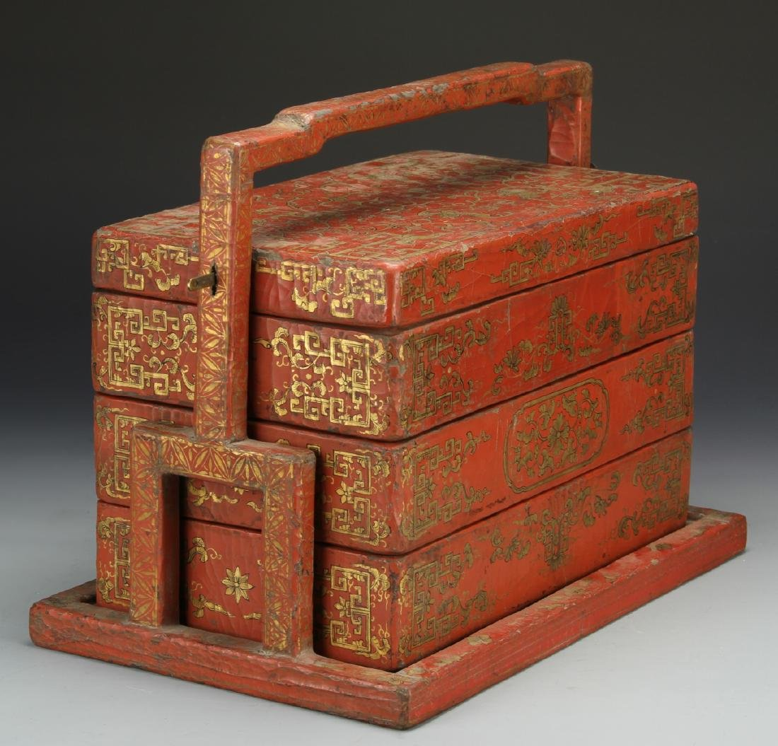 Chinese Wooden Red and Gilt Scholar Box - 4
