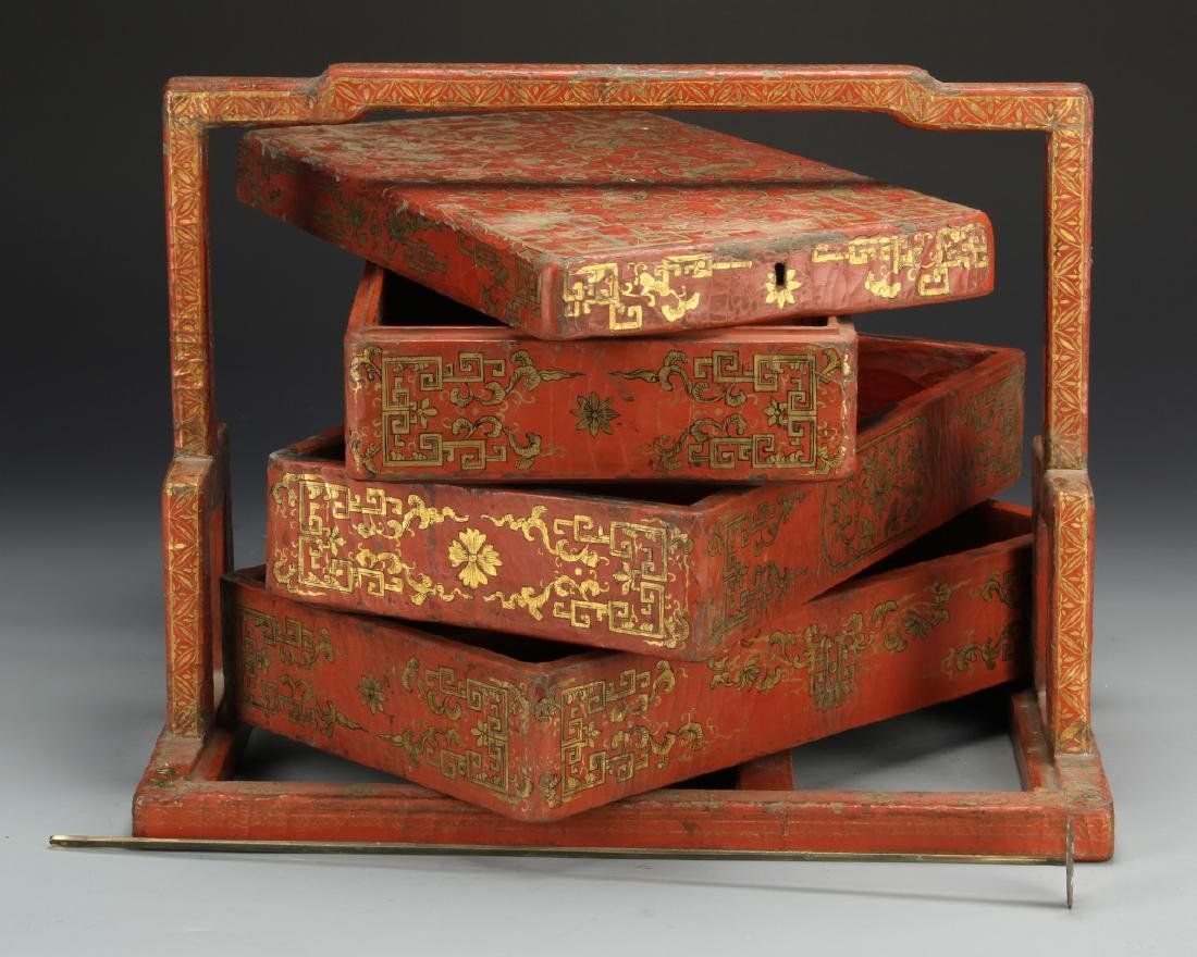 Chinese Wooden Red and Gilt Scholar Box - 5