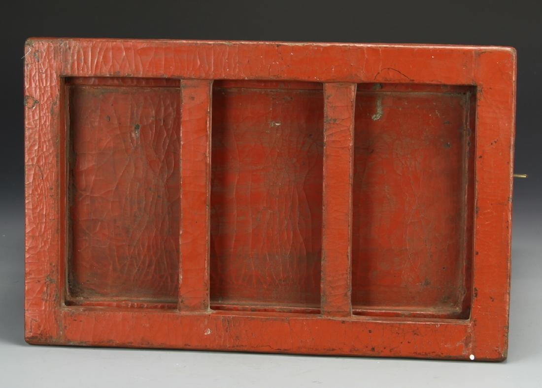 Chinese Wooden Red and Gilt Scholar Box - 6