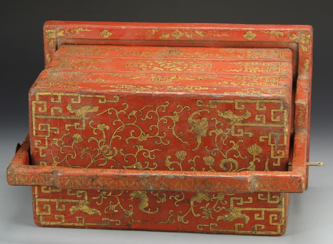 Chinese Wooden Red and Gilt Scholar Box - 7