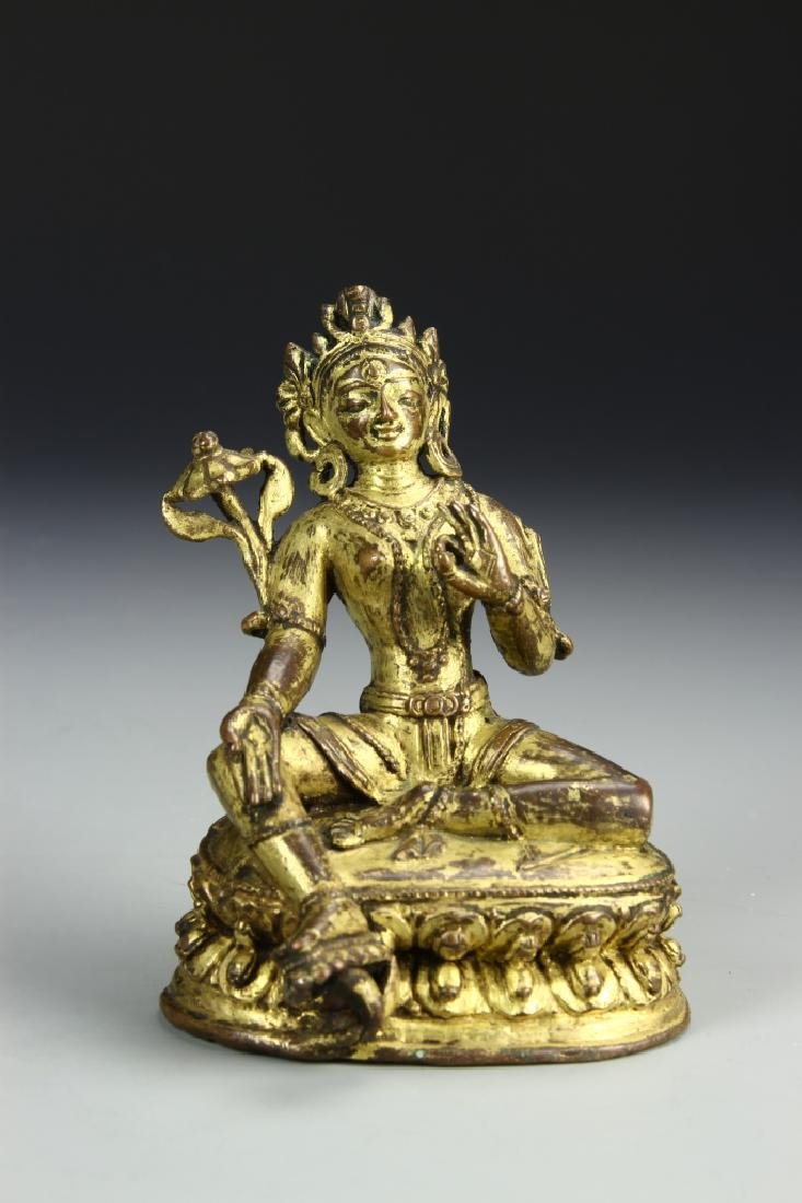 Chinese Gilt Bronze Figure of Tara Tibet