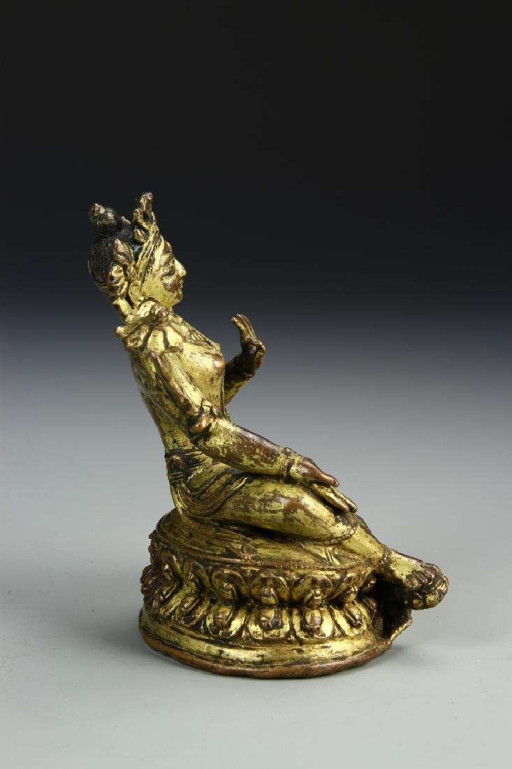 Chinese Gilt Bronze Figure of Tara Tibet - 2