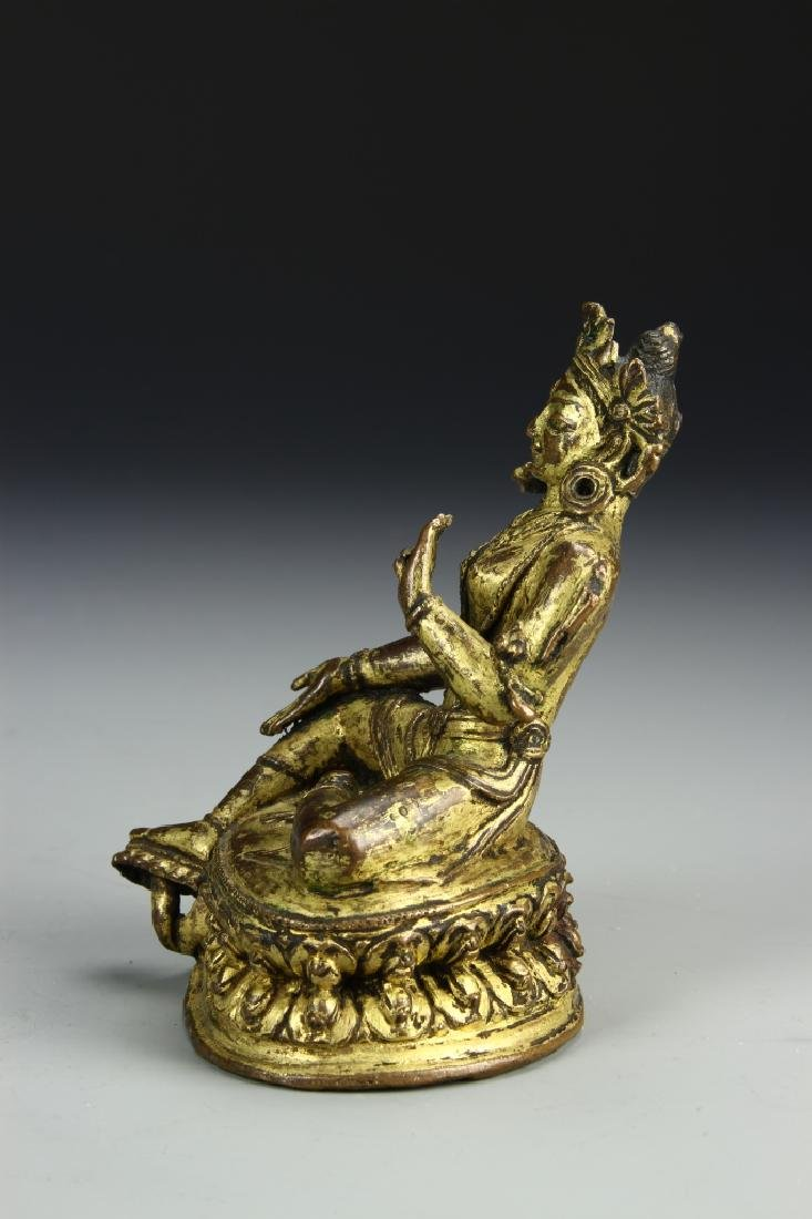 Chinese Gilt Bronze Figure of Tara Tibet - 4