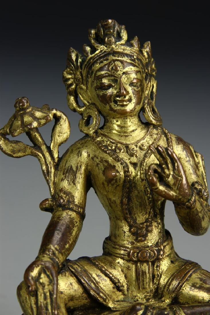 Chinese Gilt Bronze Figure of Tara Tibet - 5