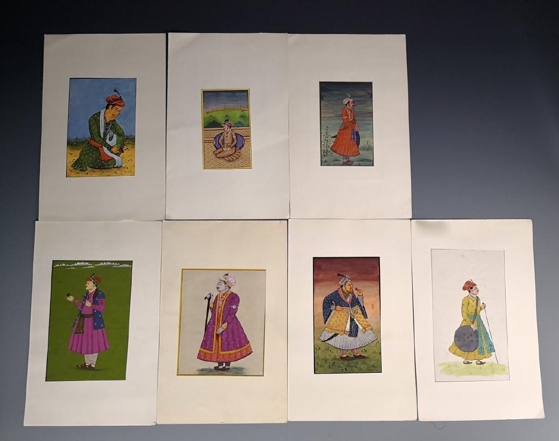 Seven Indian Maharaja Portrait Miniature Paintings