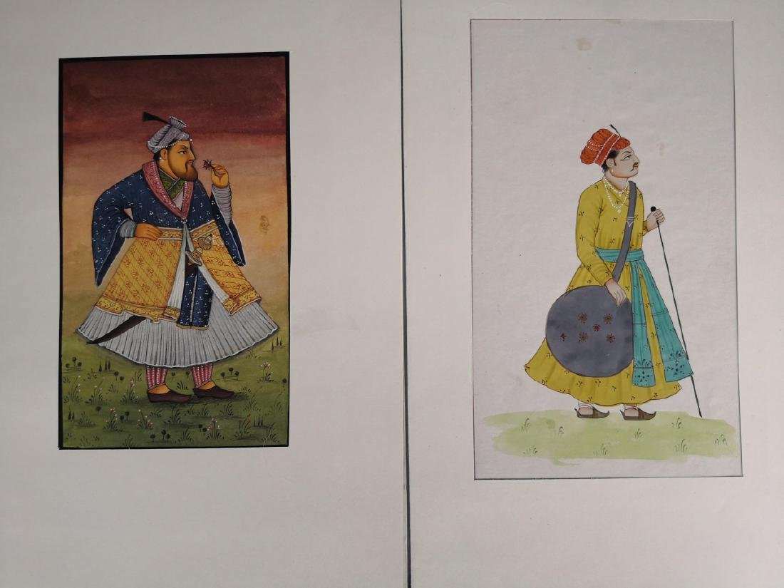 Seven Indian Maharaja Portrait Miniature Paintings - 4