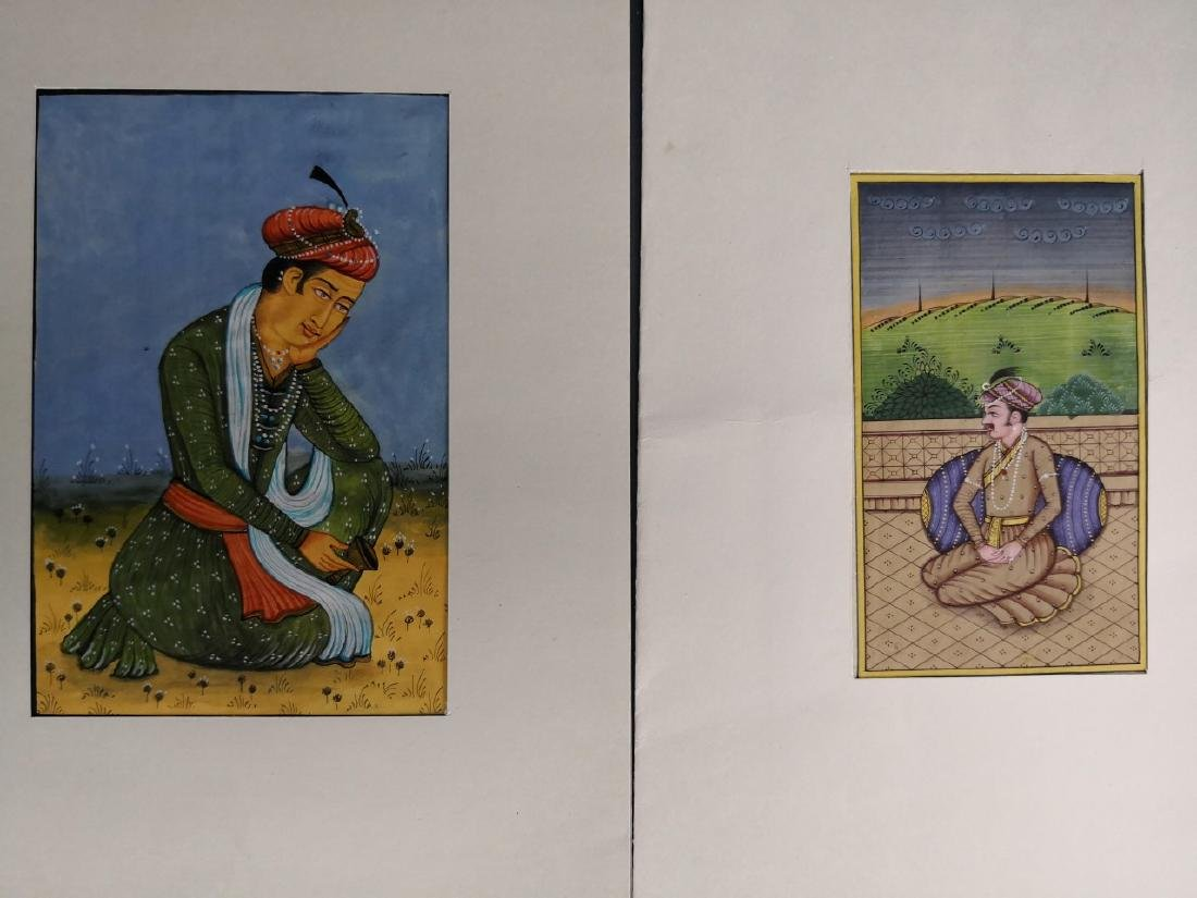Seven Indian Maharaja Portrait Miniature Paintings - 5