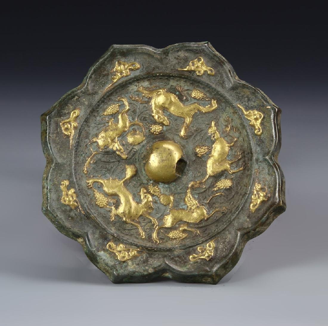 Chinese Gilt Bronze Mirror
