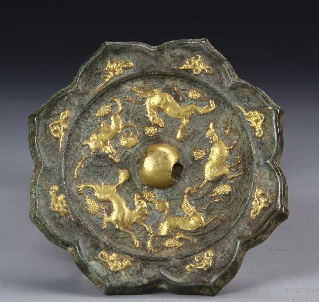 Chinese Gilt Bronze Mirror - 2