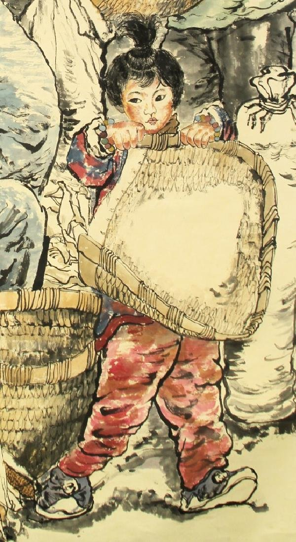 Chinese Scroll Painting of Figures - 3