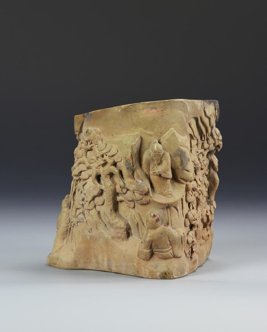 Chinese Carved Brush Pot - 3