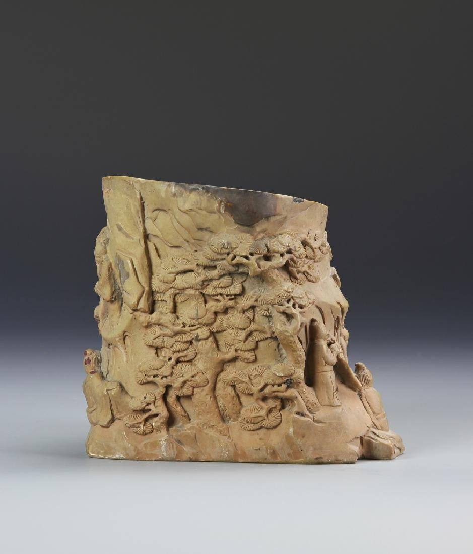 Chinese Carved Brush Pot - 4