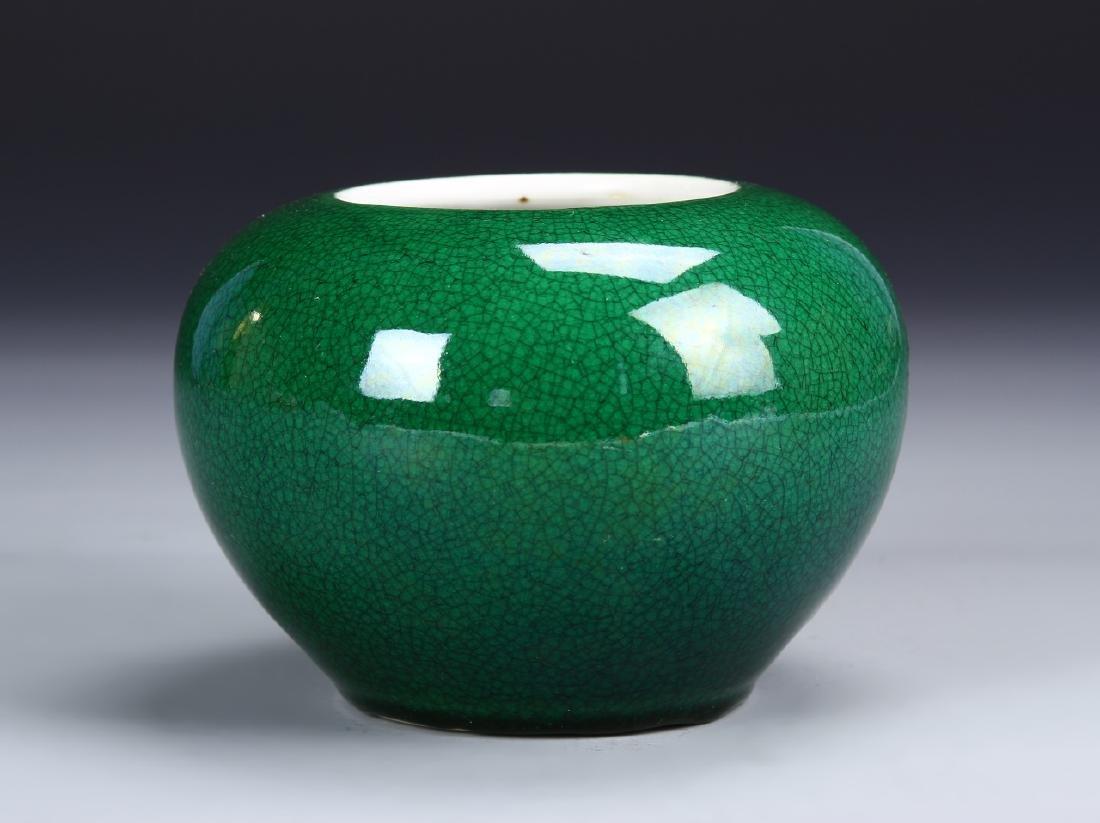 Chinese Green Crackle Glazed Brush Pot
