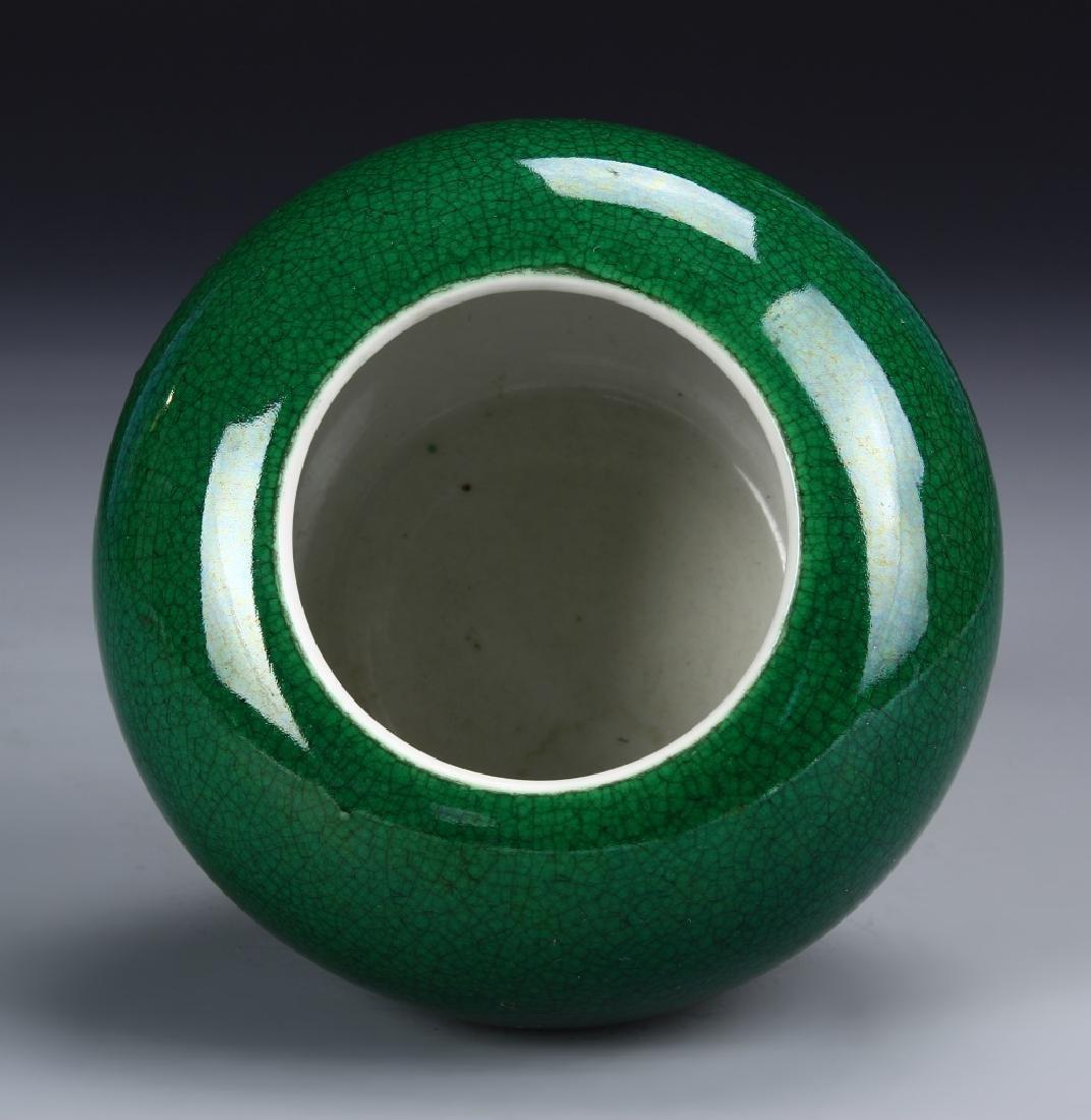 Chinese Green Crackle Glazed Brush Pot - 3