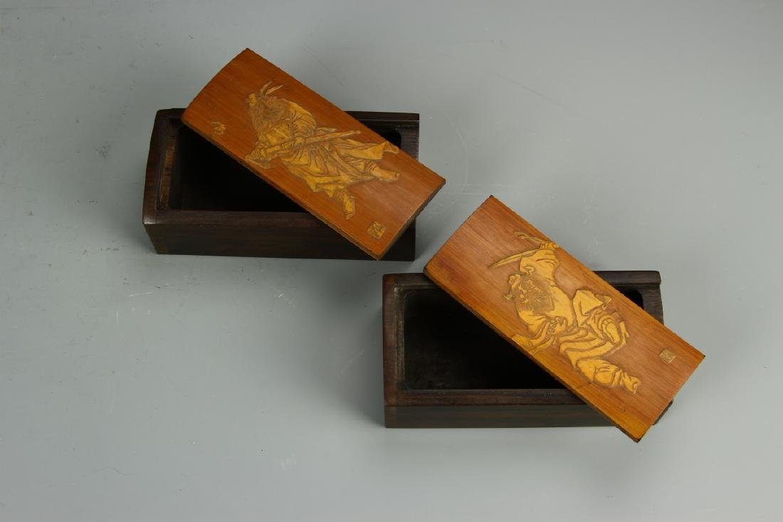Pair of Chinese Bamboo Seal Boxes