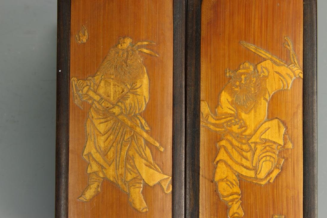 Pair of Chinese Bamboo Seal Boxes - 4