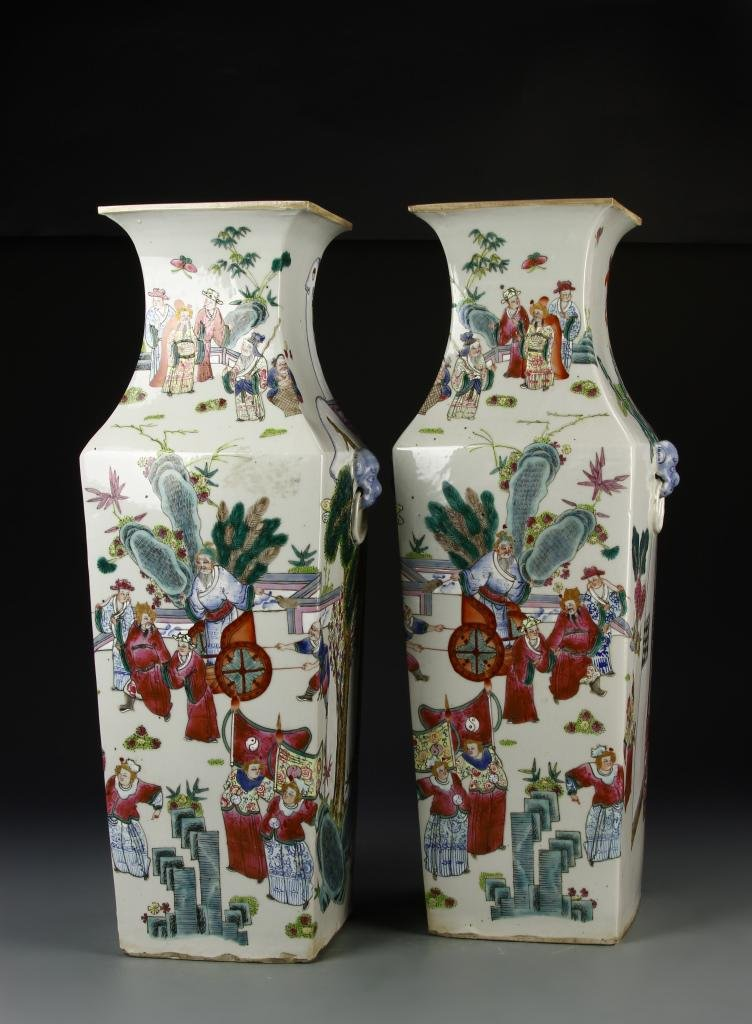 Pair of Chinese Large Famille Rose Vases