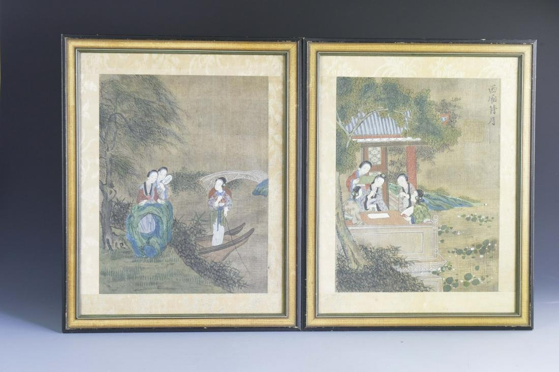 Pair of Chinese Framed Water Color Figures