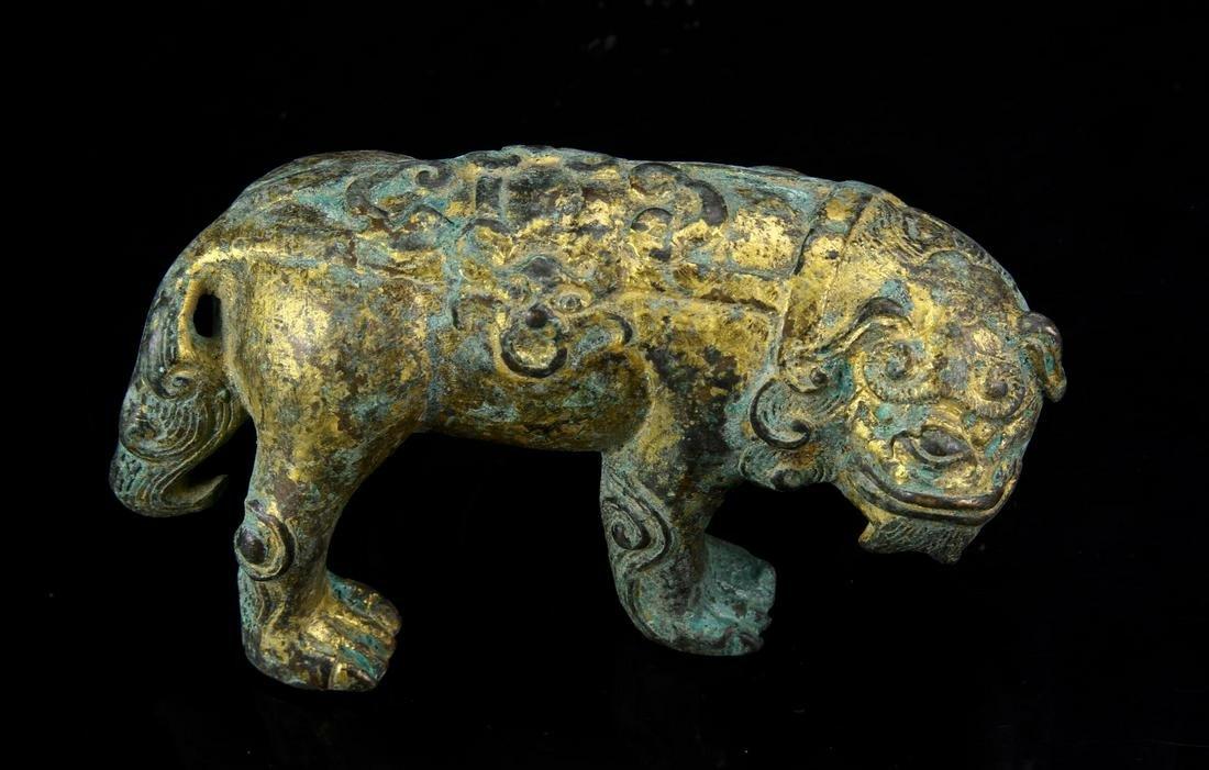 Chinese Gilt Bronze Foo Lion
