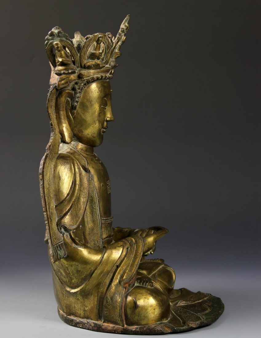 Chinese Gilt Bronze Seated Buddha - 3