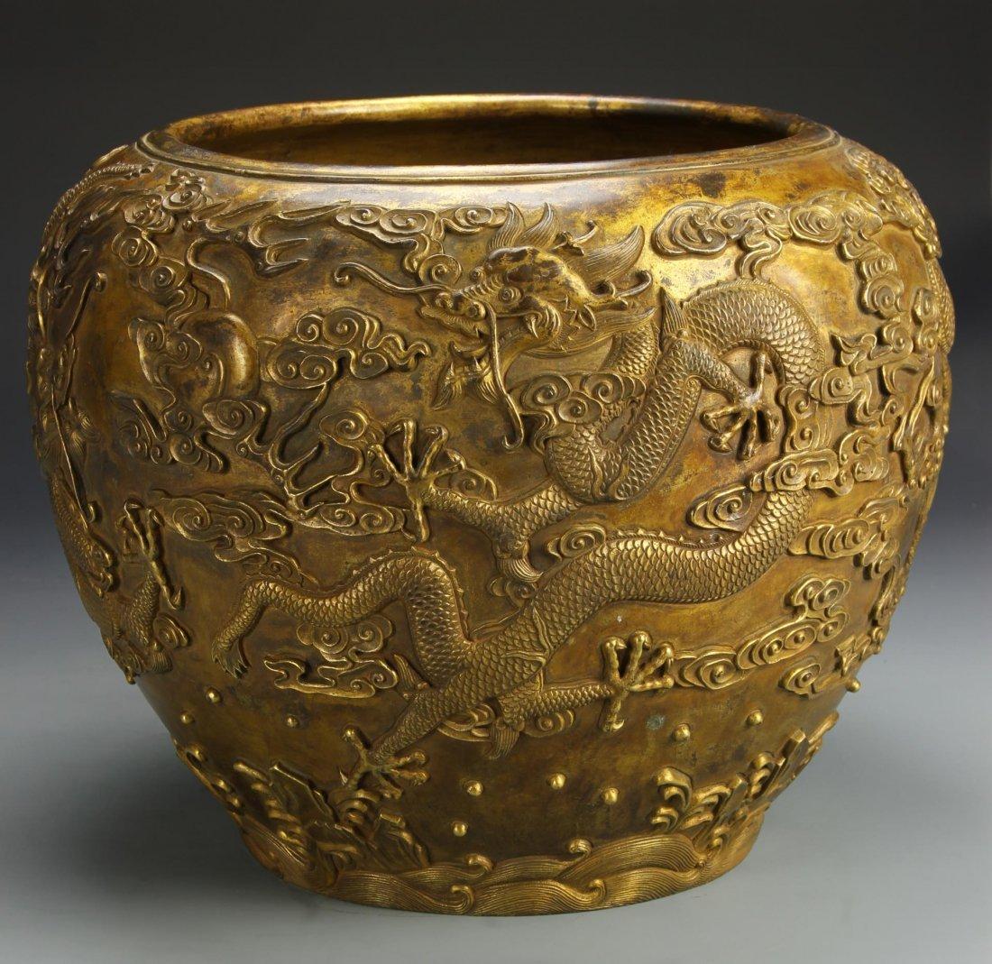Chinese Gilt-Bronze Dragon Jardinière