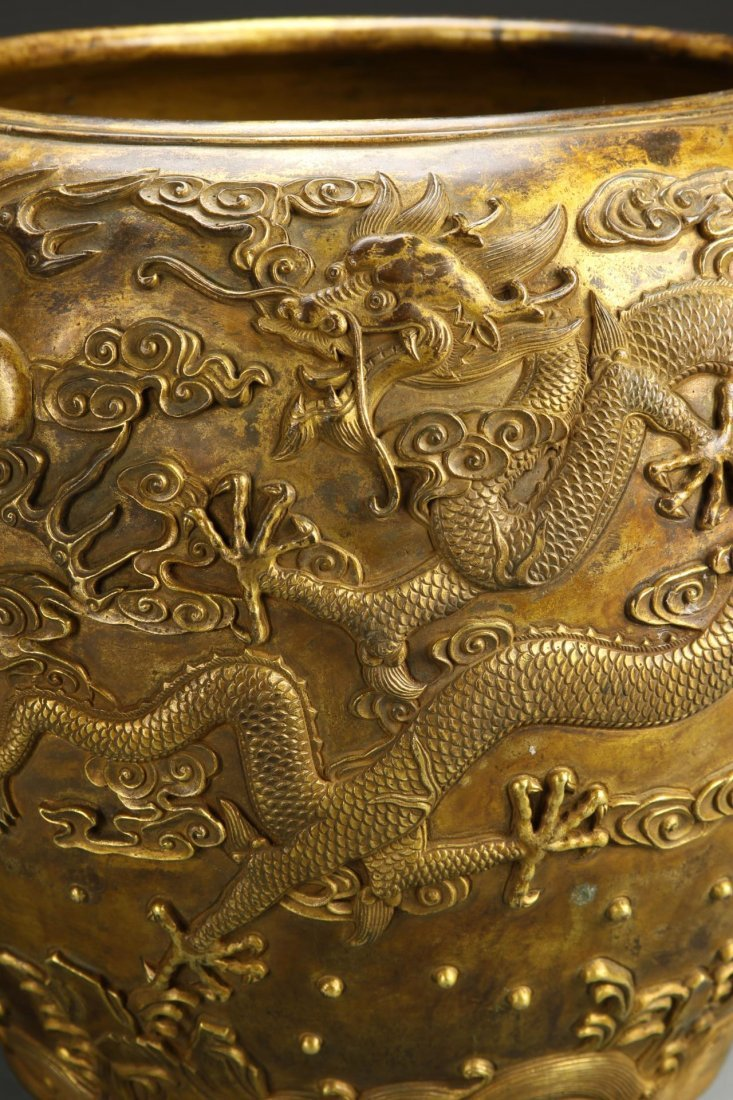 Chinese Gilt-Bronze Dragon Jardinière - 4